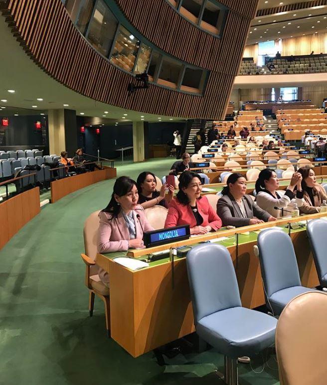 НҮБ-ын Эмэгтэйчүүдийн аж байдлын комиссын 62 дугаар чуулганд УИХ-ын эмэгтэй гишүүдийн төлөөлөл оролцож байна