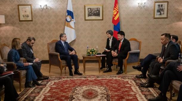 Ерөнхий сайд У.Хүрэлсүх Евразийн эдийн засгийн комиссын Сайд нарын зөвлөлийн даргатай уулзав